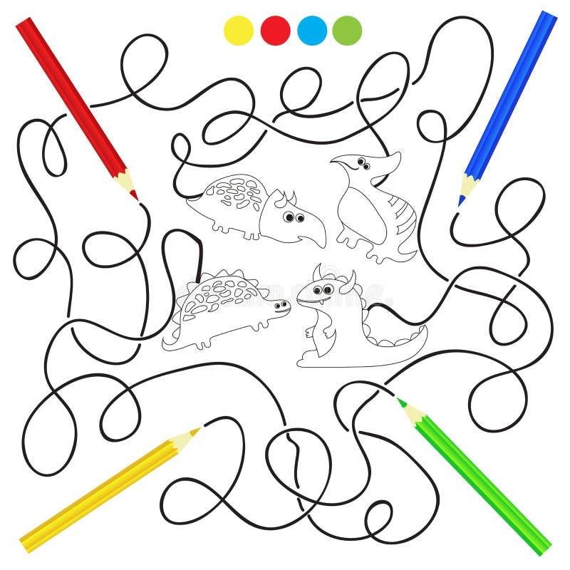 Libro de colorear con el ejemplo del vector de los dinosaurios ilustración del vector