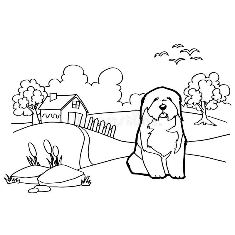 Libro de colorear con el perro y el paisaje stock de ilustración
