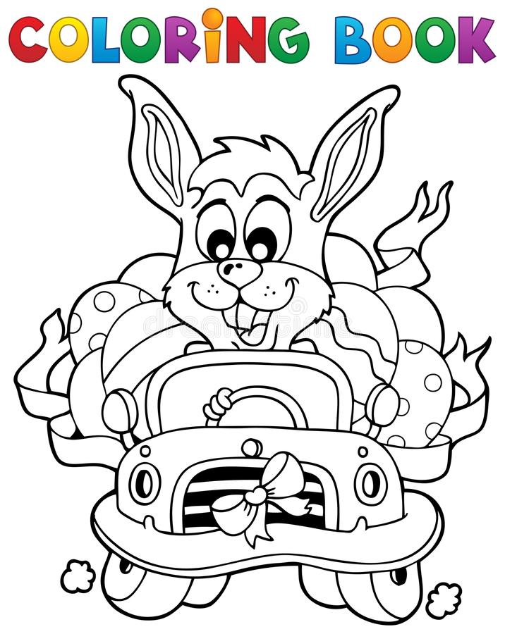 Libro de colorear con el tema 7 de Pascua ilustración del vector
