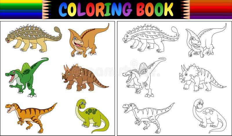 Libro de colorear con la colección de la historieta del dinosaurio ilustración del vector