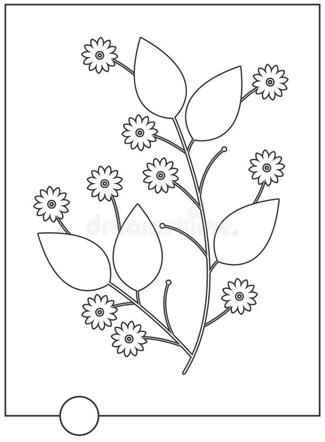 Libro de colorear con la flor y las hojas decorativas stock de ilustración