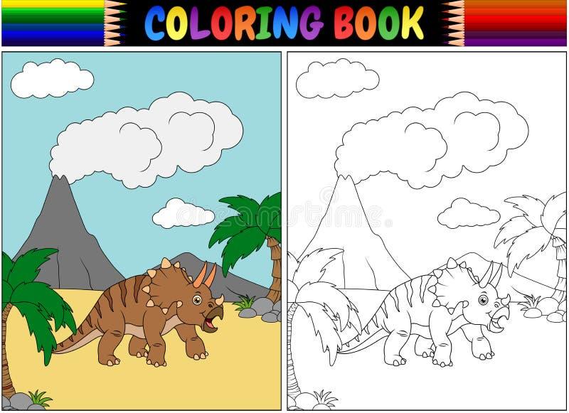 Libro de colorear con la historieta del triceratops stock de ilustración