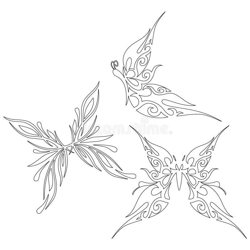 Libro De Colorear Con La Mariposa, Contorno Ilustración del Vector ...