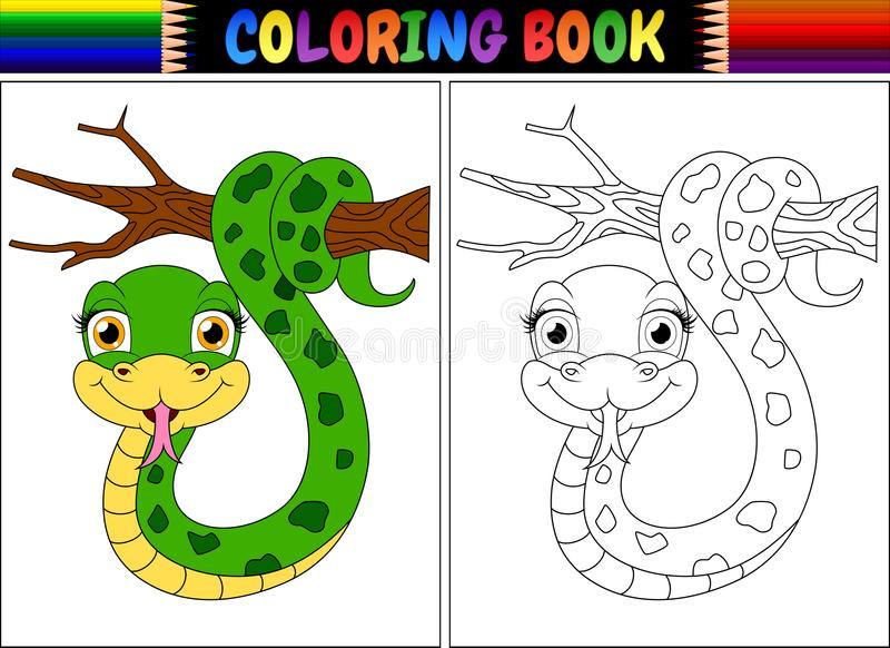 Libro de colorear con la serpiente linda en rama de árbol stock de ilustración