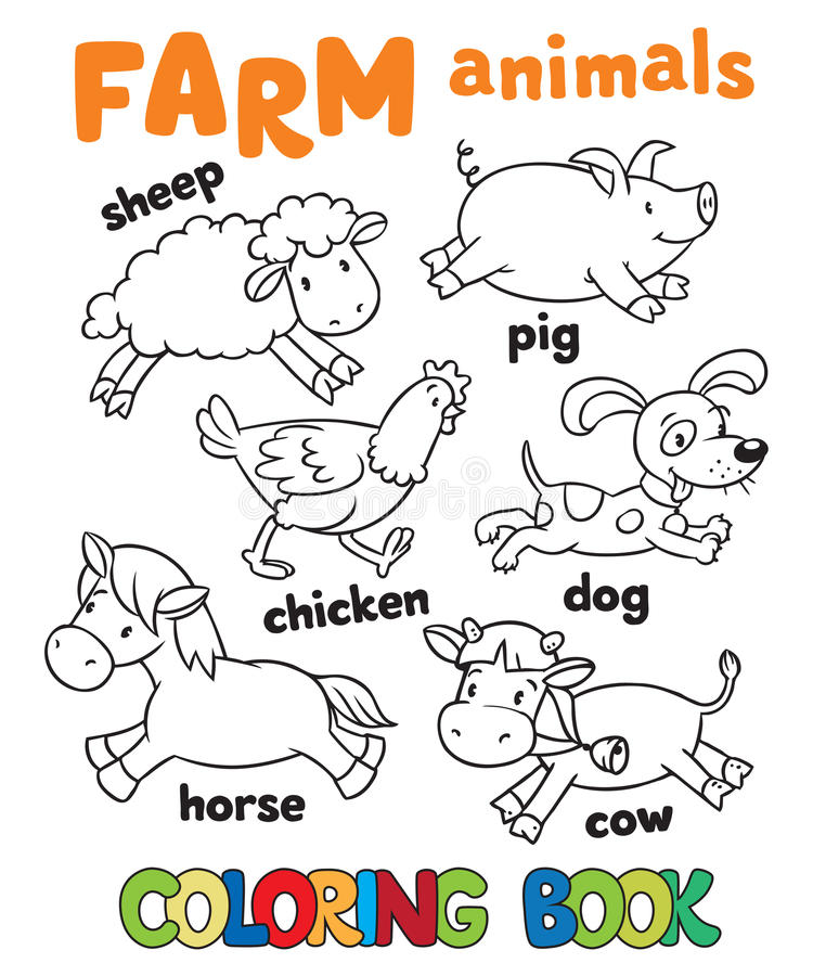 Libro De Colorear Con Los Animales Del Campo Ilustración del Vector ...
