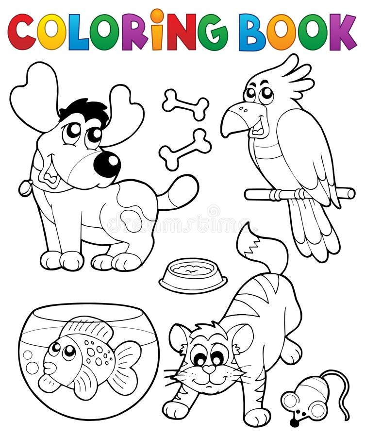 Libro de colorear con los animales domésticos 4 stock de ilustración