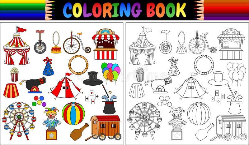 Libro de colorear con los iconos del parque de atracciones fijados libre illustration