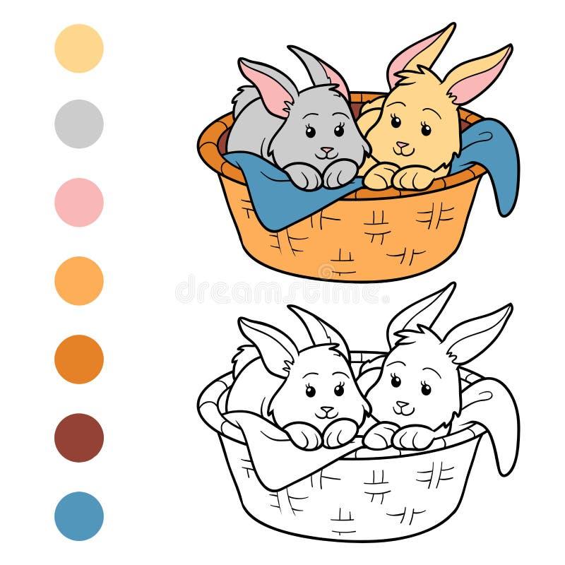 Libro de colorear (conejos en cesta) stock de ilustración