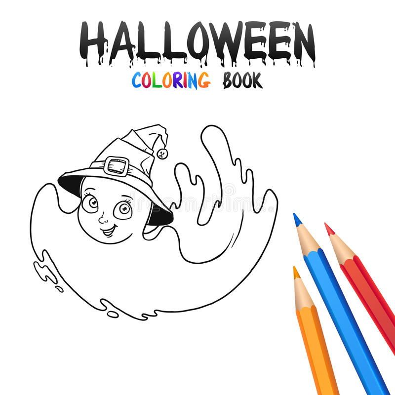 Libro De Colorear De Halloween Personaje De Dibujos Animados Lindo ...