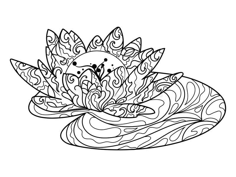 Libro de colorear de la flor de Lotus para el vector de los adultos stock de ilustración