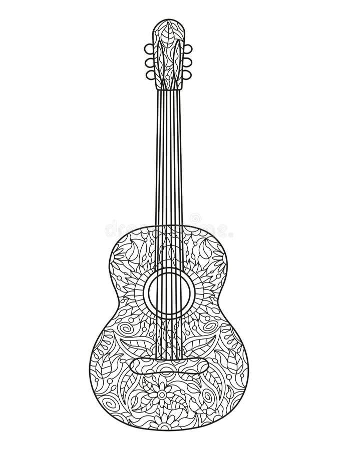 Libro De Colorear De La Guitarra Acústica Para El Vector De Los ...