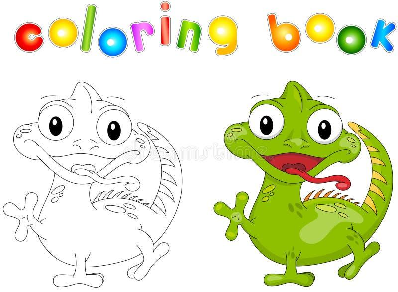 Libro de colorear de la iguana de la historieta ilustración del vector