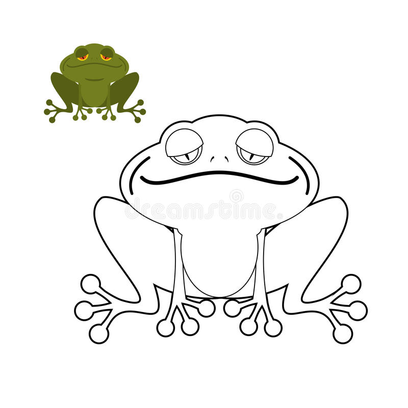 Libro de colorear de la rana Reptil anfibio divertido Animal del pantano ilustración del vector