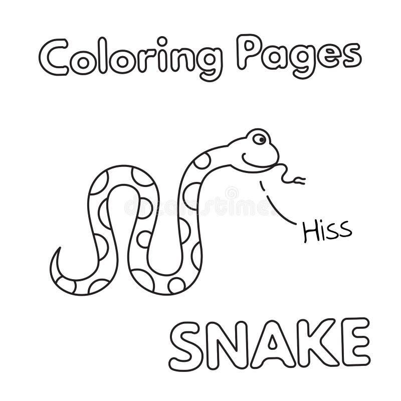 Libro de colorear de la serpiente de la historieta stock de ilustración