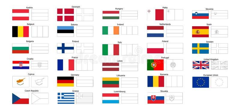 Libro De Colorear De Las Banderas De Países De UE Ilustración del ...