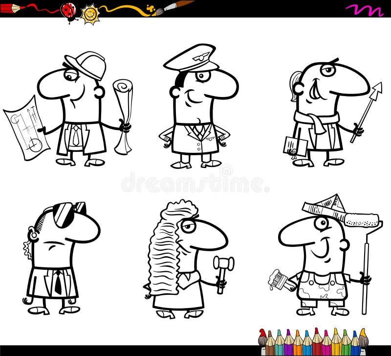 Libro de colorear de los empleos de la gente stock de ilustración