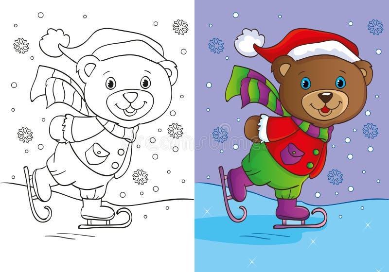Libro de colorear de Teddy Bear Skates lindo stock de ilustración