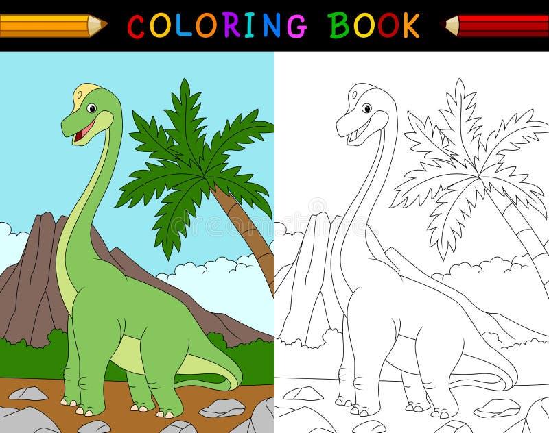 Libro de colorear del brachiosaurus de la historieta stock de ilustración