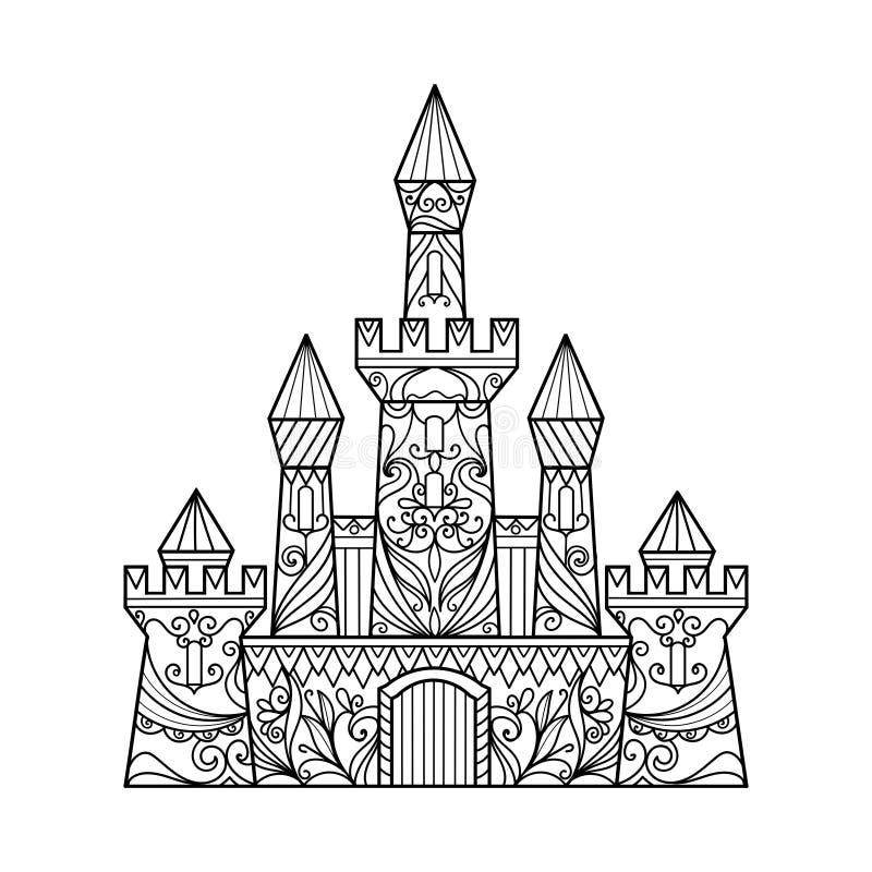 Libro de colorear del castillo para el vector de los adultos ilustración del vector