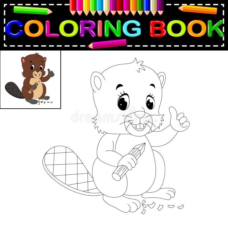 Libro de colorear del castor ilustración del vector