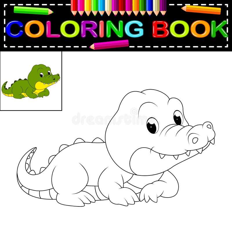 Libro de colorear del cocodrilo ilustración del vector
