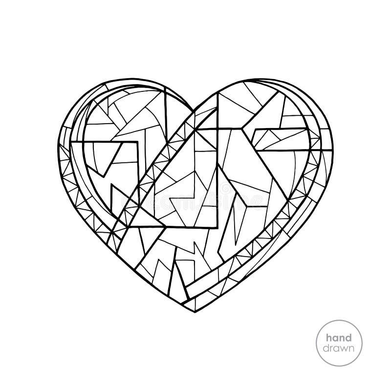 Libro de colorear del corazón Ejemplo abstracto exhausto del vector de los días de fiesta del amor de la mano Fondo de día de San libre illustration