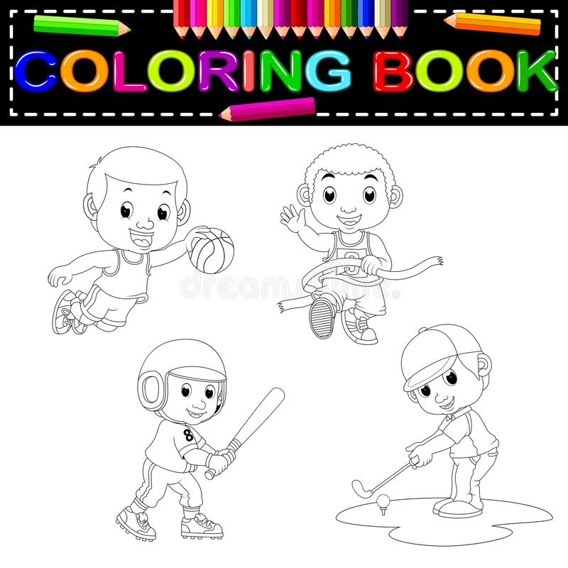 Libro de colorear del deporte ilustración del vector