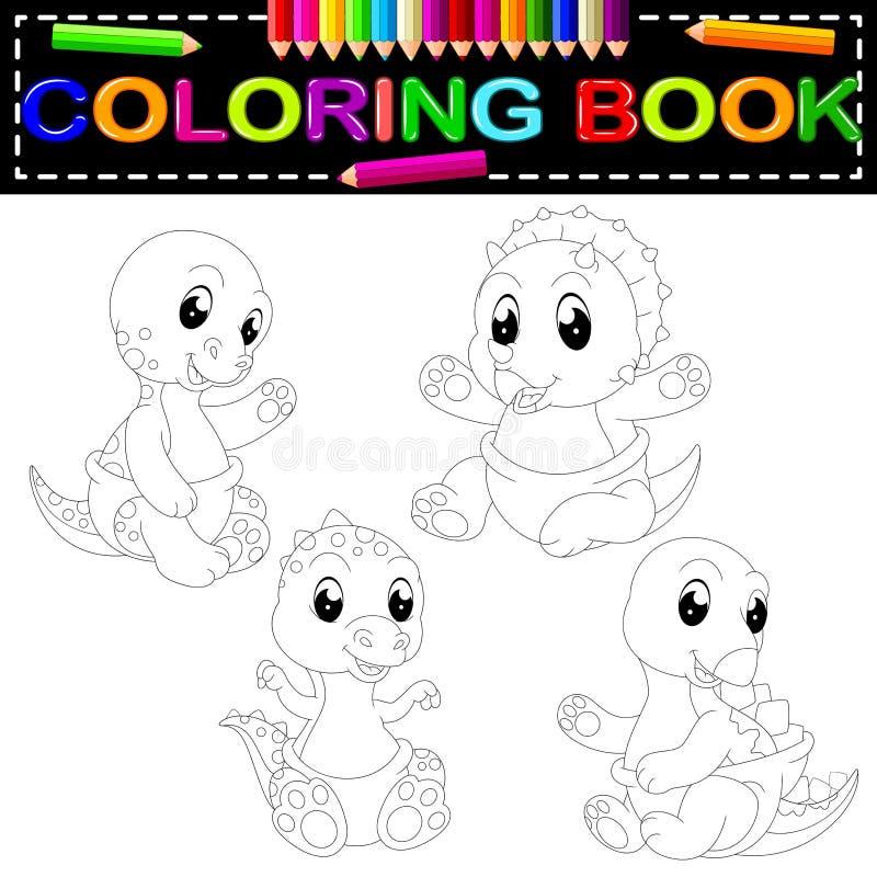 Libro de colorear del dinosaurio stock de ilustración