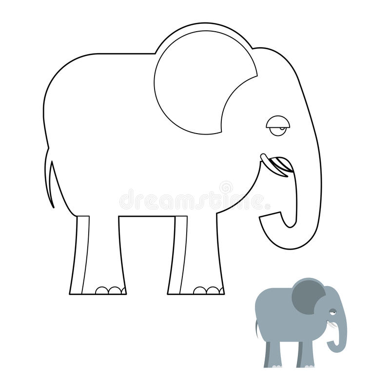 Libro de colorear del elefante Animal grande de la selva con el tronco largo ilustración del vector