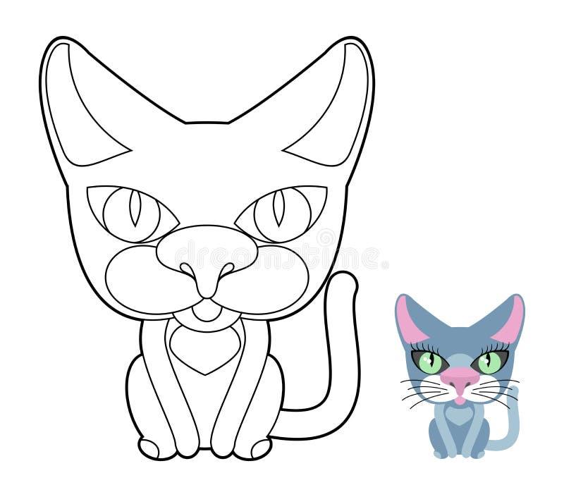 Libro De Colorear Del Gato Animal Doméstico Linear Del Ejemplo Del ...