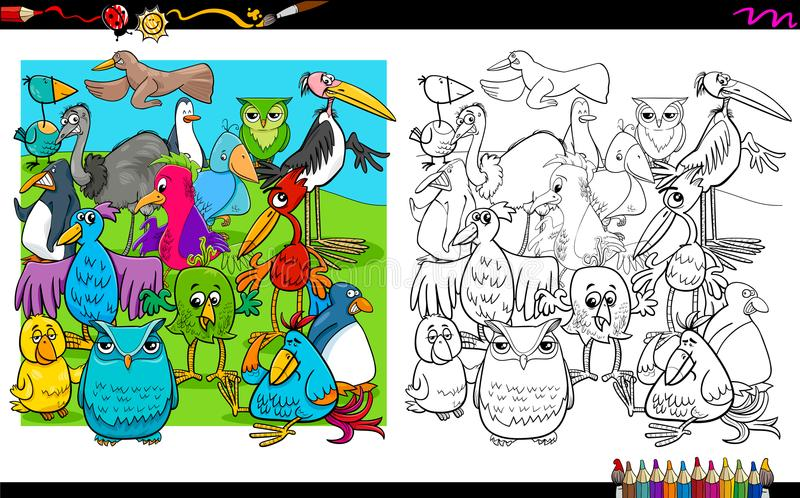 Libro De Colorear Del Grupo De Los Caracteres De Los Pájaros ...