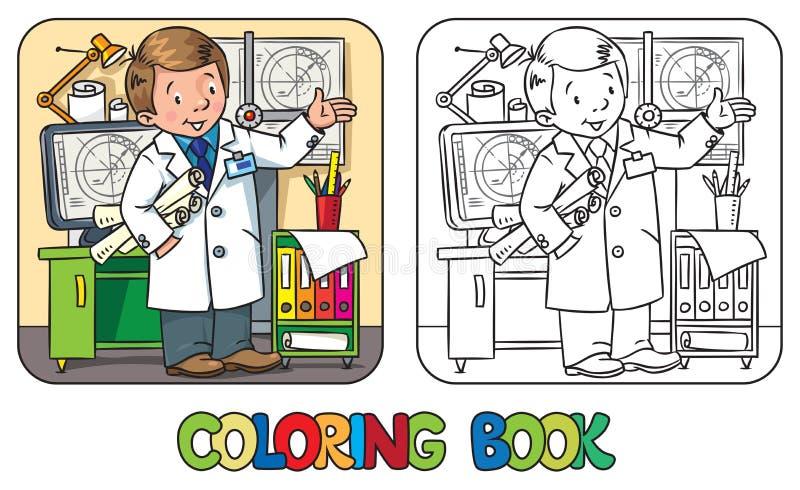 Libro de colorear del ingeniero Serie de ABC de la profesión ilustración del vector