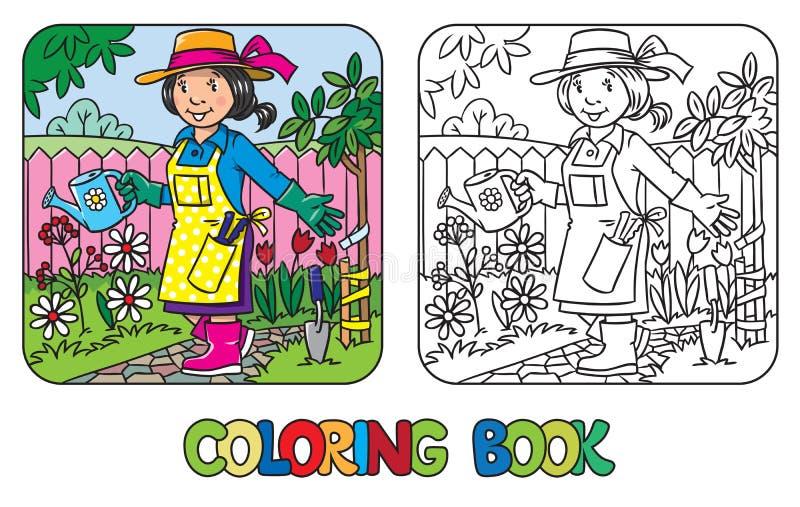 Libro de colorear del jardinero divertido de la mujer stock de ilustración