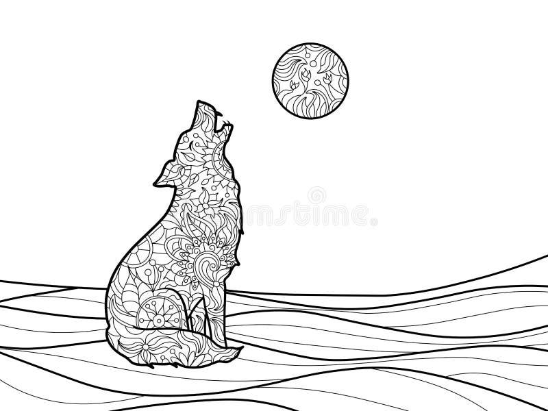 Libro De Colorear Del Lobo Para El Vector De Los Adultos Ilustración ...
