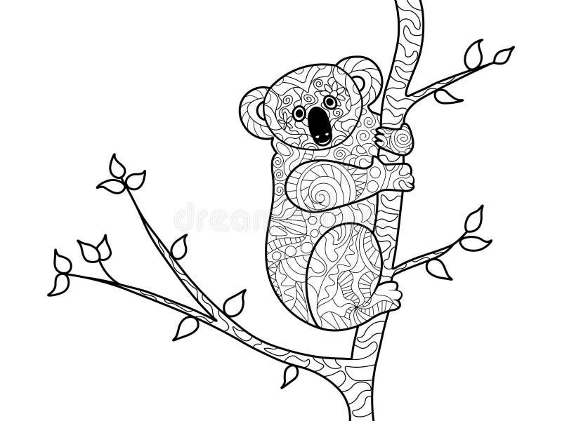 Libro De Colorear Del Oso De Koala Para El Vector De Los Adultos ...