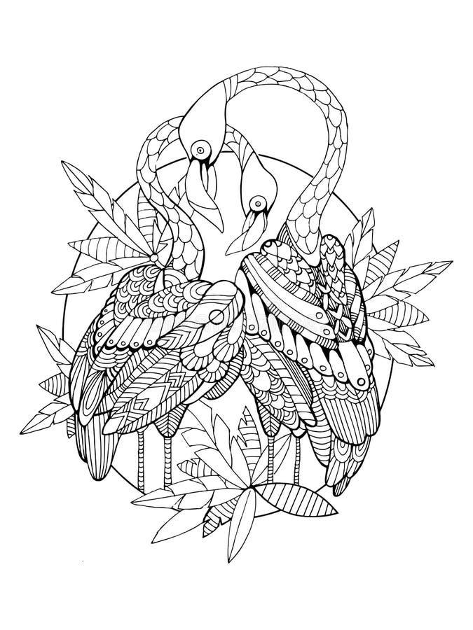 Libro de colorear del pájaro del flamenco para el vector de los adultos ilustración del vector