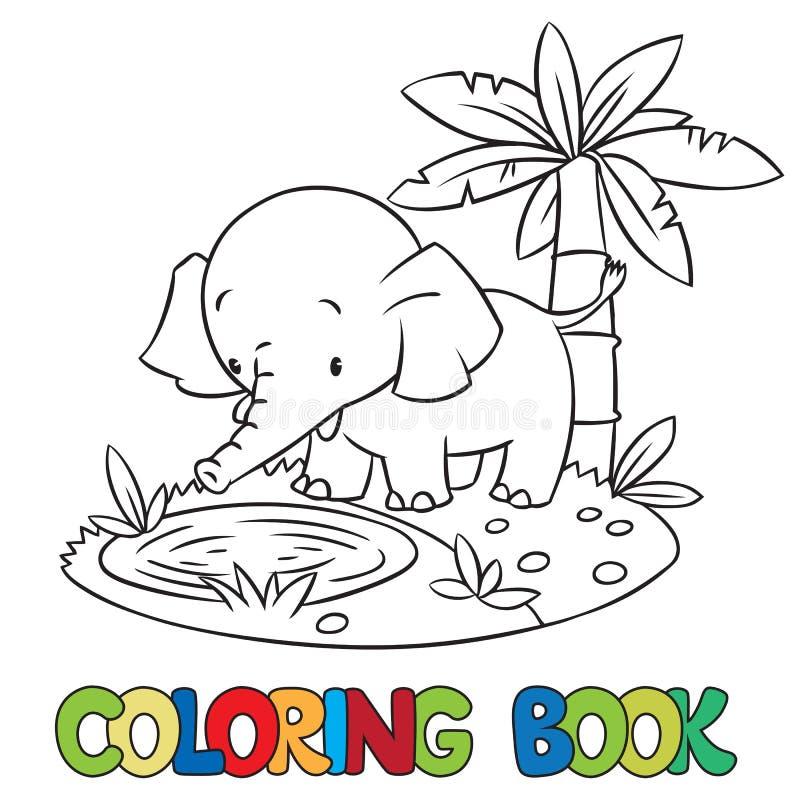 Libro De Colorear Del Pequeño Elefante O Jumbo Divertido Ilustración ...