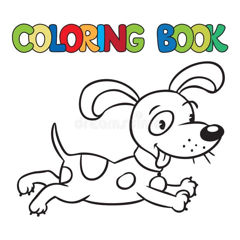 Libro de colorear del pequeño perro o del perrito ilustración del vector