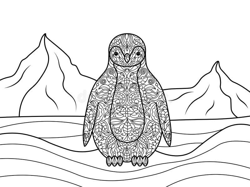Libro de colorear del pingüino para el vector de los adultos ilustración del vector