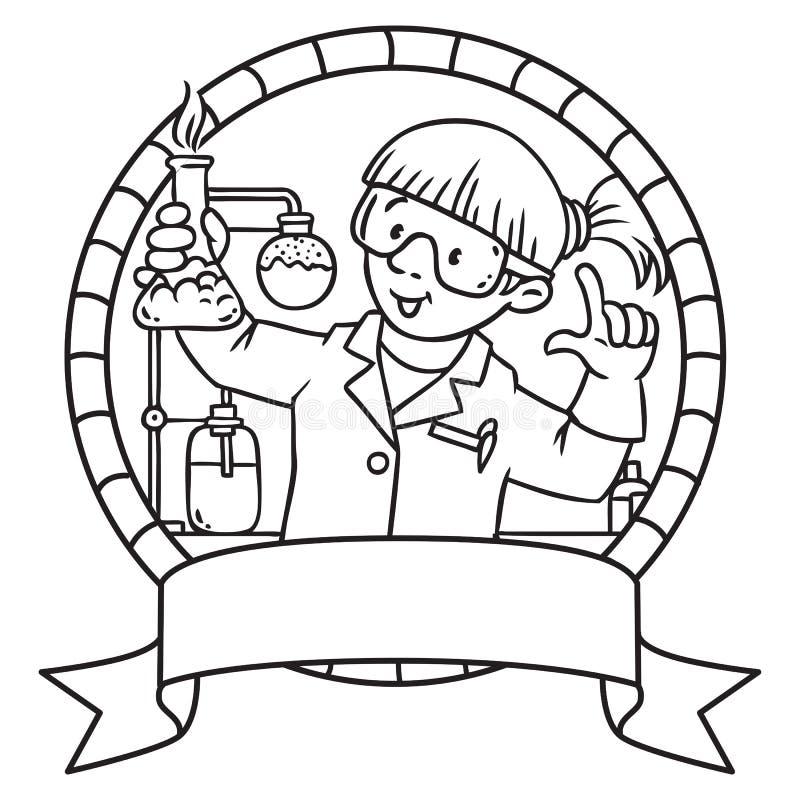 Libro De Colorear Del Químico Divertido Emblem Ilustración del ...