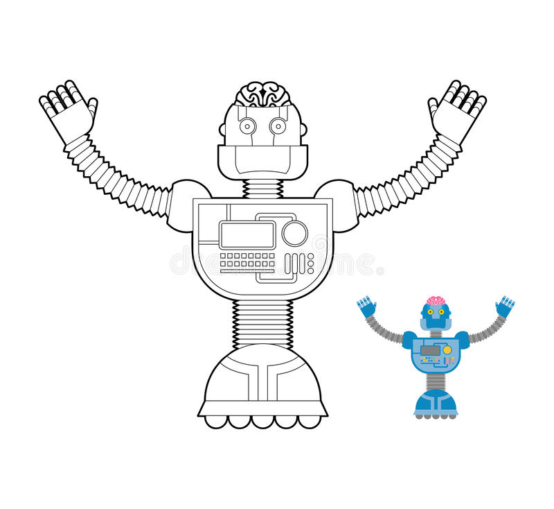 Libro de colorear del robot de espacio Mecanismo cibernético con artificial libre illustration