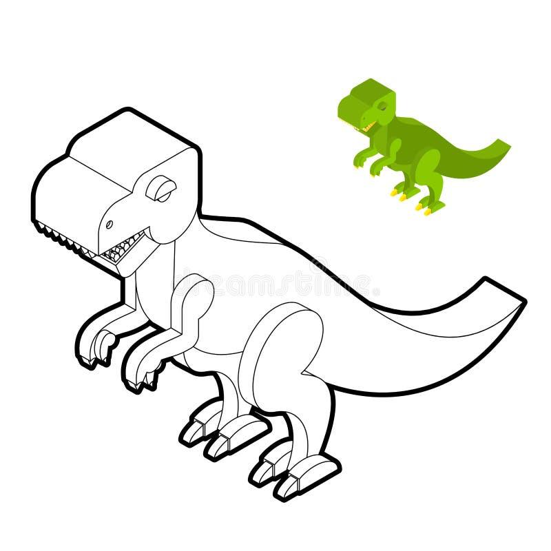 Libro de colorear del tiranosaurio Estilo isométrico del dinosaurio Prehistor libre illustration
