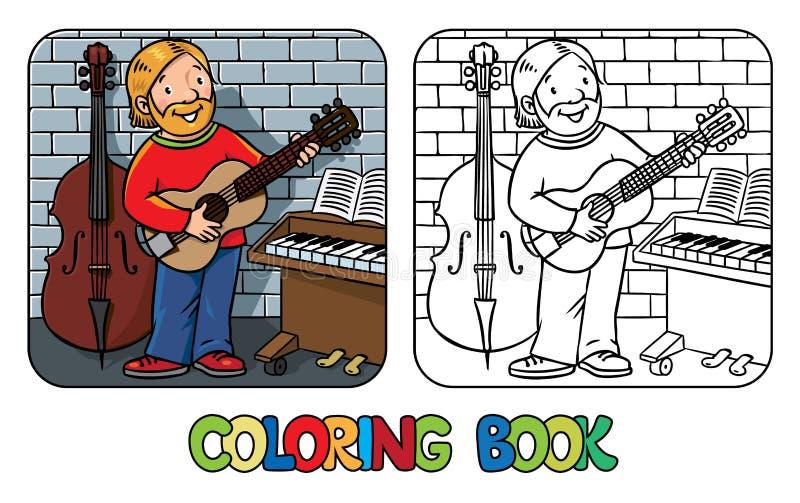 Libro de colorear divertido del músico o del guitarrista libre illustration