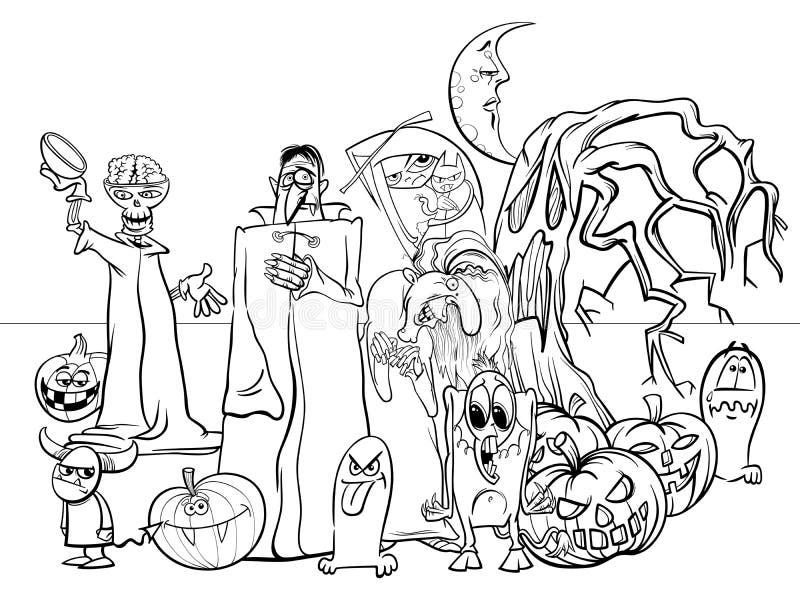 Libro de colorear divertido de los caracteres de la historieta del día de fiesta de Halloween stock de ilustración