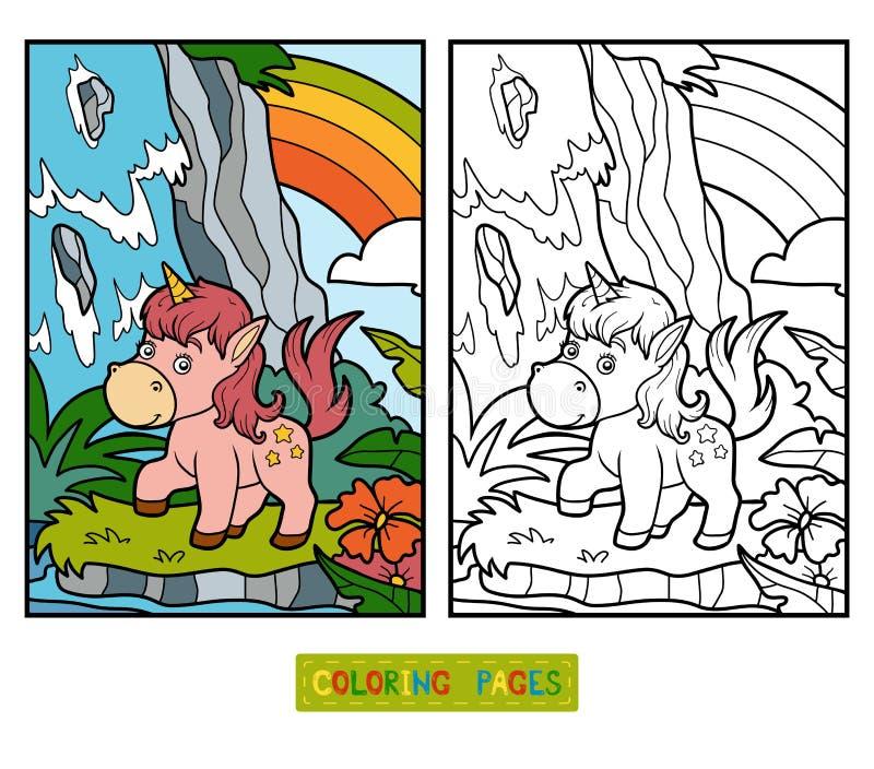 Libro de colorear, elefante y fondo stock de ilustración