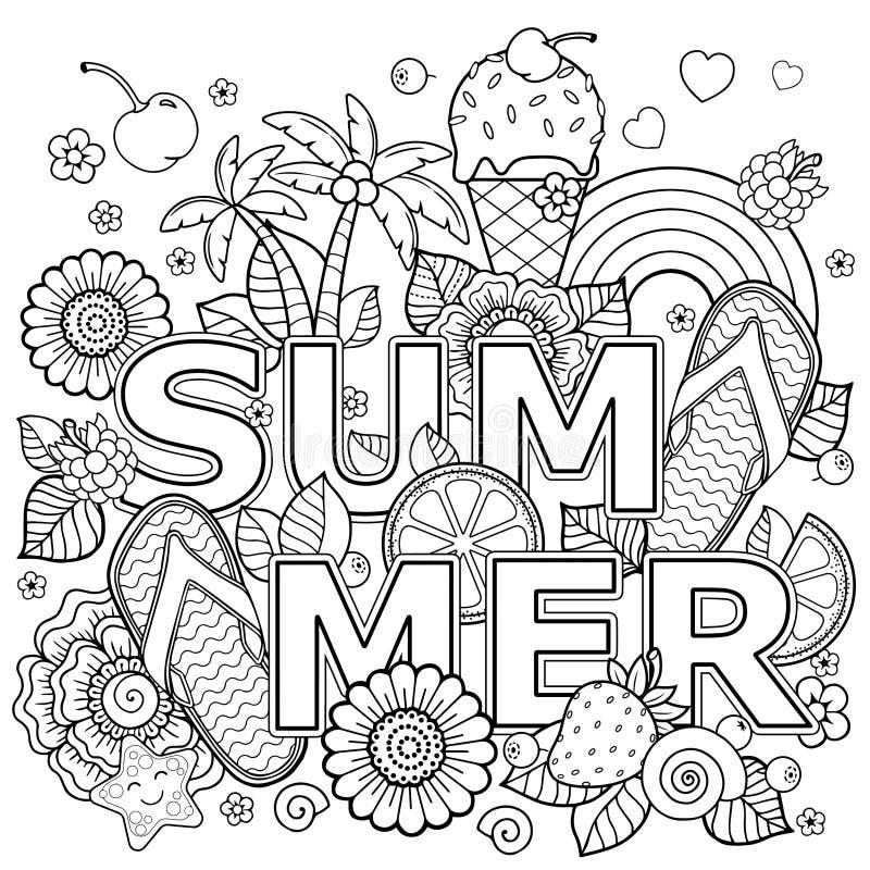 Libro de colorear exhausto de la mano para el adulto Vacaciones de verano, partido y resto ilustración del vector