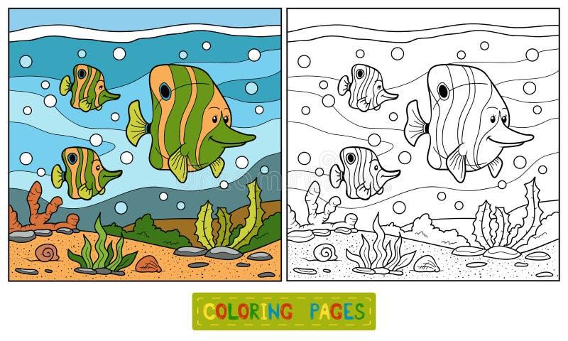 Libro de colorear (familia de pescados) ilustración del vector