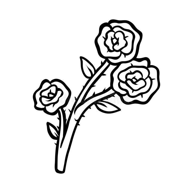 Libro De Colorear, Flor Rose Ilustración del Vector - Ilustración de ...