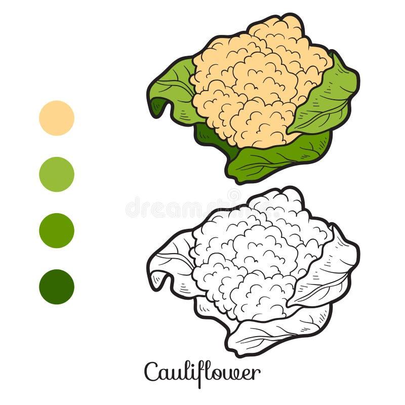 Libro de colorear: frutas y verduras (coliflor) stock de ilustración