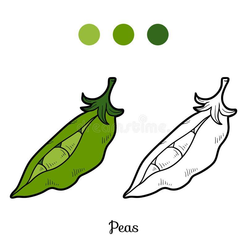 Libro de colorear: frutas y verduras (guisantes) stock de ilustración